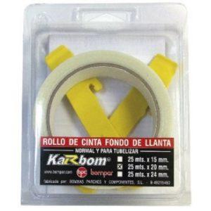 Rollo de cinta fondo de llanta para tuberizar 25m 20mm Karbon Bompar