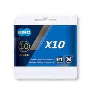 Cadena KMC X10 1/2x11/128 116 eslabones 10V gris (25 unidades)