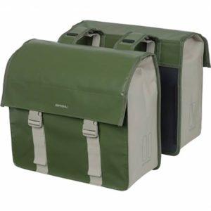 Alforjas Basil Urban Load 53L impermeable poliester verde/beige con reflectantes (40.5x17.5x46 cm)